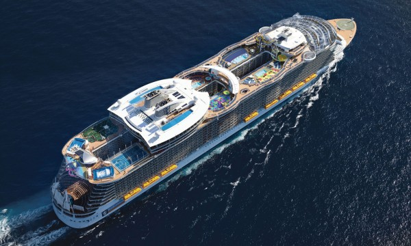 Aerial view of the Harmony of the Seas cruise ship