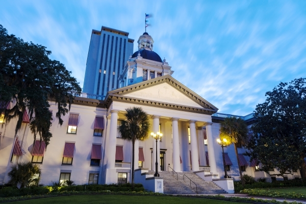 The old and new Florida State Capitol buildings in downtown Tallahassee, Florida.