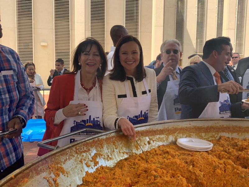 At Dade Days 'Paella Fest', Miami-Dade State Attorney Katherine Fernandez Rundel (left) with Florida's Attorney General Ashley Moody.