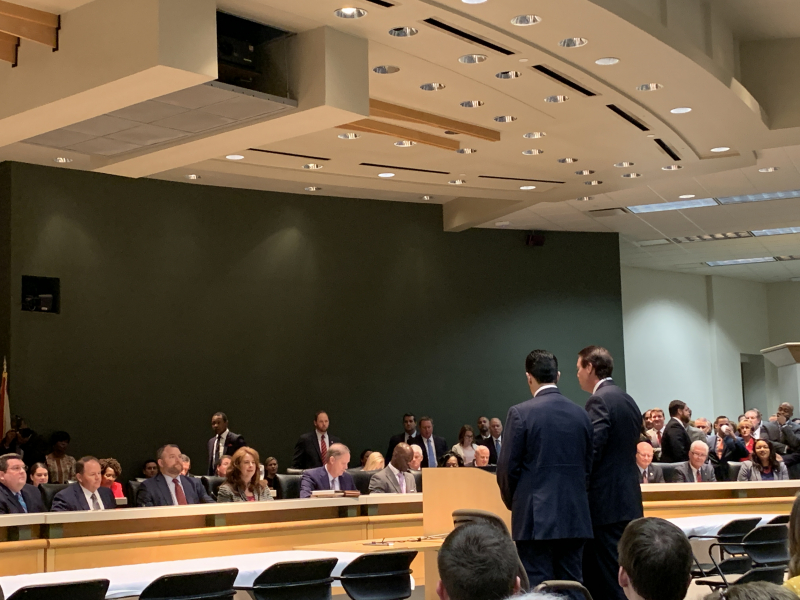 Florida Senate President Bill Galvano and Speaker of the House of Representatives José Oliva presenting before the Appropriations Conference Committee chairs, Senator Ron Bradley and Representative Travis Cummings at the Conference Organizational Meeting, Tuesday, April 23.