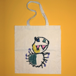 Image of a tote with a drawing on it